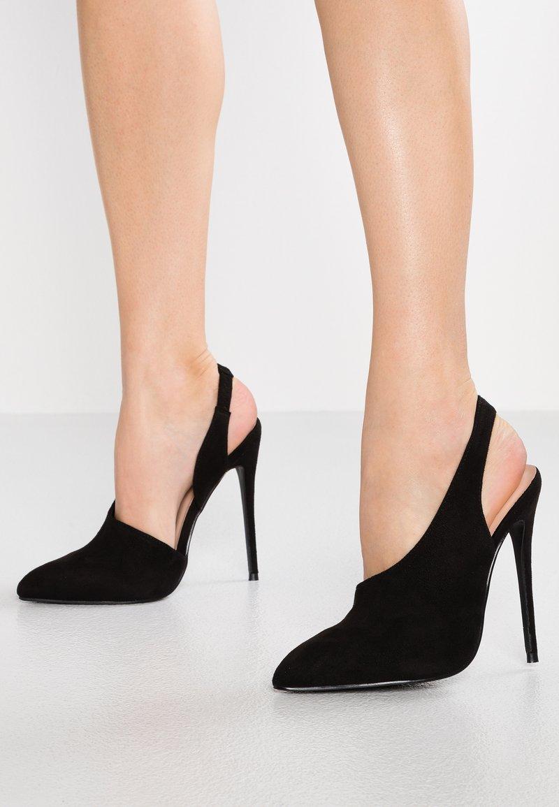 Lost Ink Wide Fit - WIDE FIT SLINGBACK SHOE WITH VAMP - High heels - black