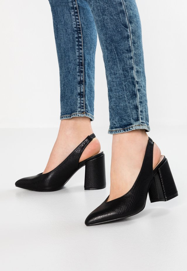 WIDE FIT JUDE SLINGBACK COURT BLOCK HEEL - High Heel Pumps - black