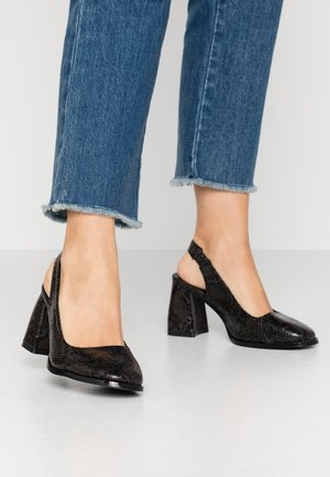 BLOCK HEEL SLING BACK SHOE - Klassiske pumps - black