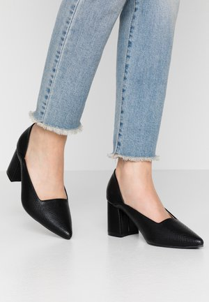 POINTED MID BLOCK HEEL SHOE  - Czółenka - black