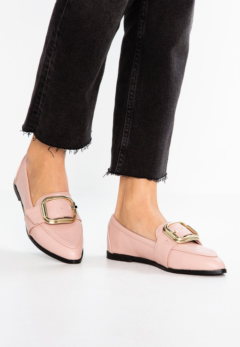 Lost Ink Wide Fit - WIDE FIT LOAFER WITH BUCKLE - Slip-ons - nude