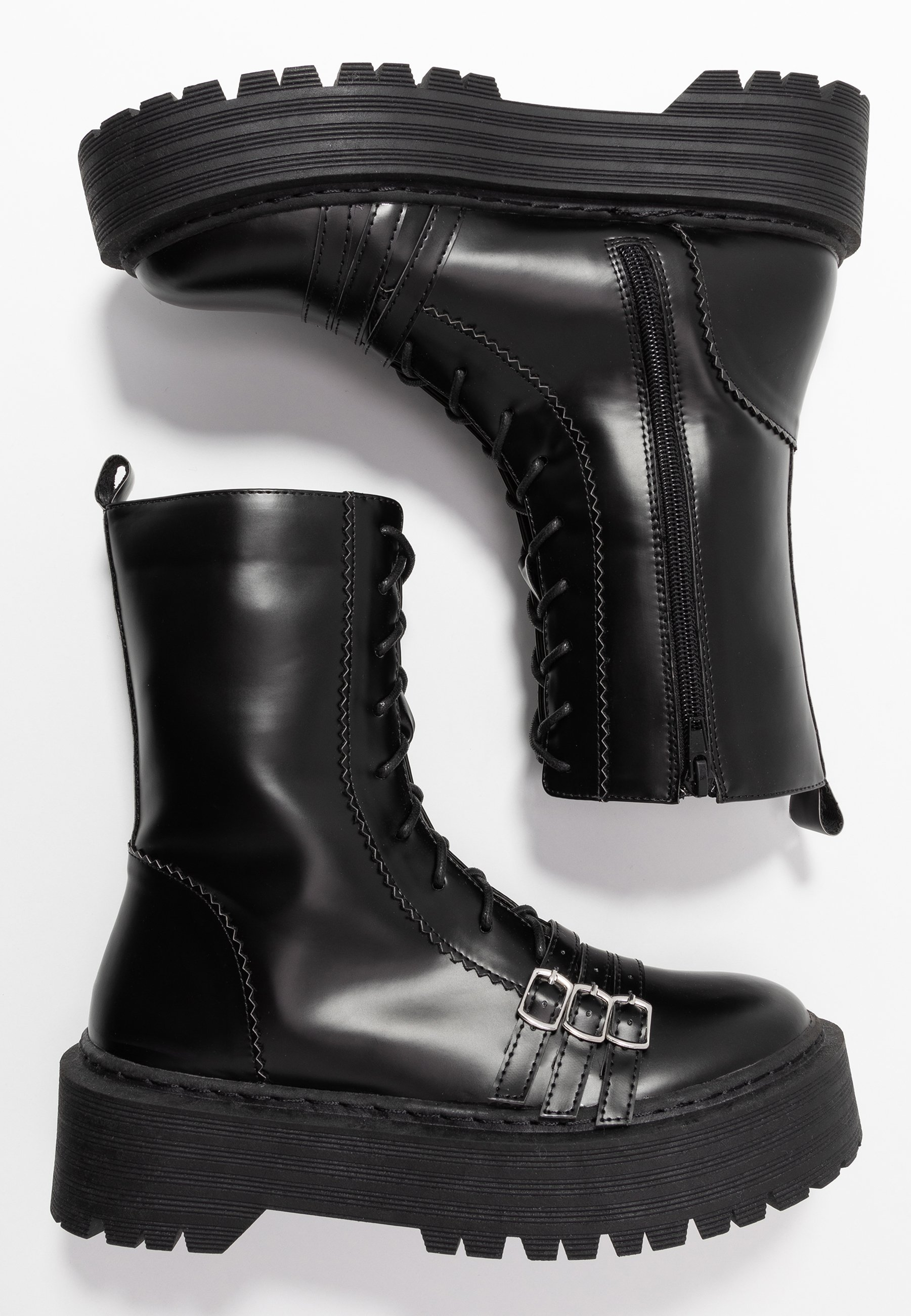 Lost Ink Wide Fit WIDE FIT BUCKLE DETAIL CHUNKY LACE UP BOOT - Cowboy- / Bikerstövletter - black