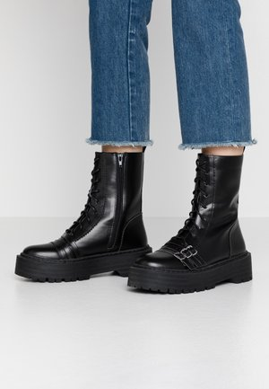 WIDE FIT BUCKLE DETAIL CHUNKY LACE UP BOOT  - Santiags - black
