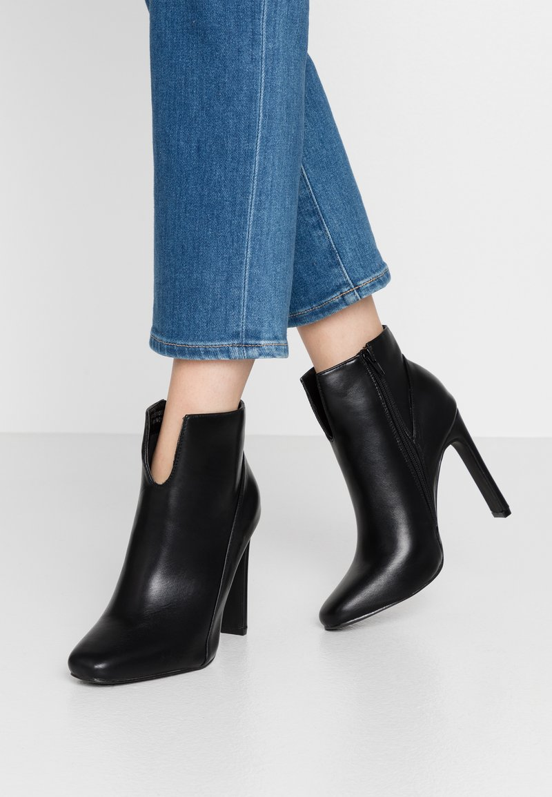 Lost Ink Wide Fit - WIDE FIT V FRONT STILETTO  - High heeled ankle boots - black