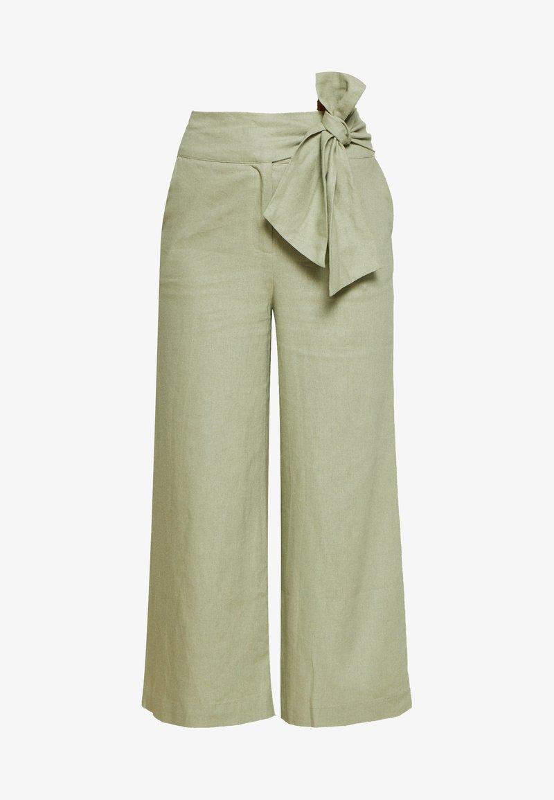 Lost Ink Petite - TIE WAIST WIDE LEG TROUSER - Kalhoty - light green