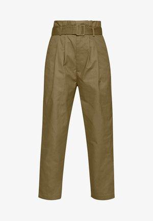 BELTED PLEAT WAIST PEG TROUSER - Pantalon classique - khaki