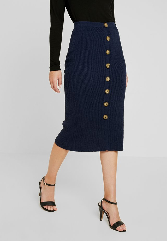 BUTTON THROUGH TEXTURED SKIRT - Kokerrok - navy