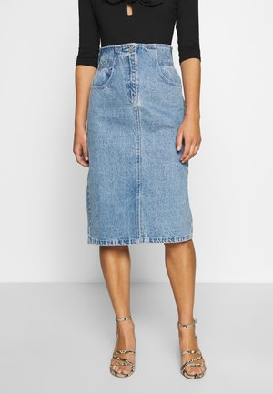 ELASTIC BAG WAIST MIDI SKIRT - A-lijn rok - blue denim