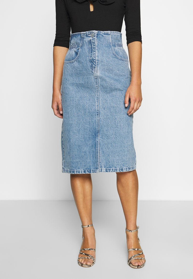 Lost Ink Petite - ELASTIC BAG WAIST MIDI SKIRT - A-line skjørt - blue denim