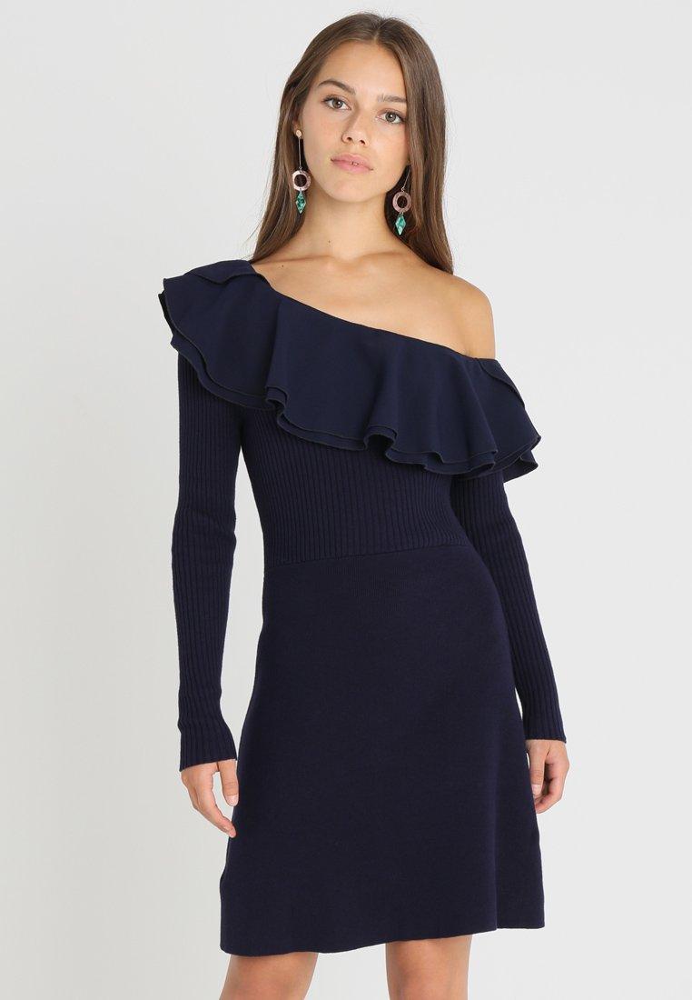 Lost Ink Petite - RUFFLE FIT FLARE DRESS - Jumper dress - navy