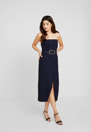 BANDEAU BELTED BODYCON DRESS - Tubino - navy