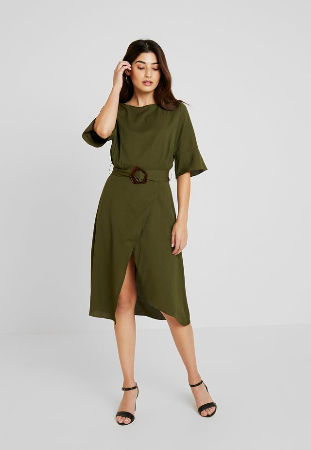 WRAP DETAIL BELTED FIT & FLARE DRESS - Day dress - khaki