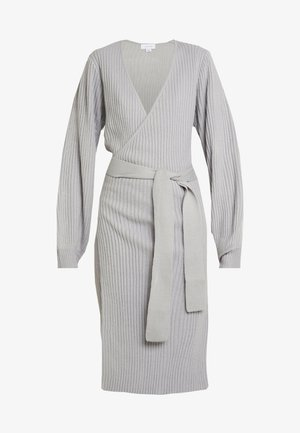 WRAP DRESS WITH FULL SLEEVE - Stickad klänning - grey