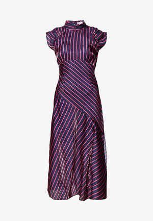 HIGH NECK STRIPE MIDAXI DRESS - Korte jurk - dark blue