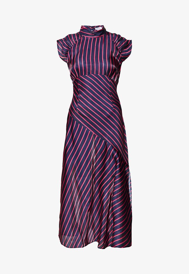 HIGH NECK STRIPE MIDAXI DRESS - Denní šaty - dark blue