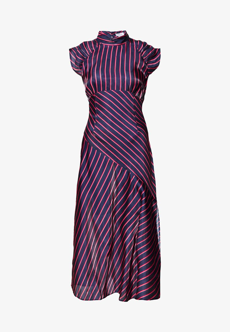Lost Ink Petite - HIGH NECK STRIPE MIDAXI DRESS - Sukienka letnia - dark blue