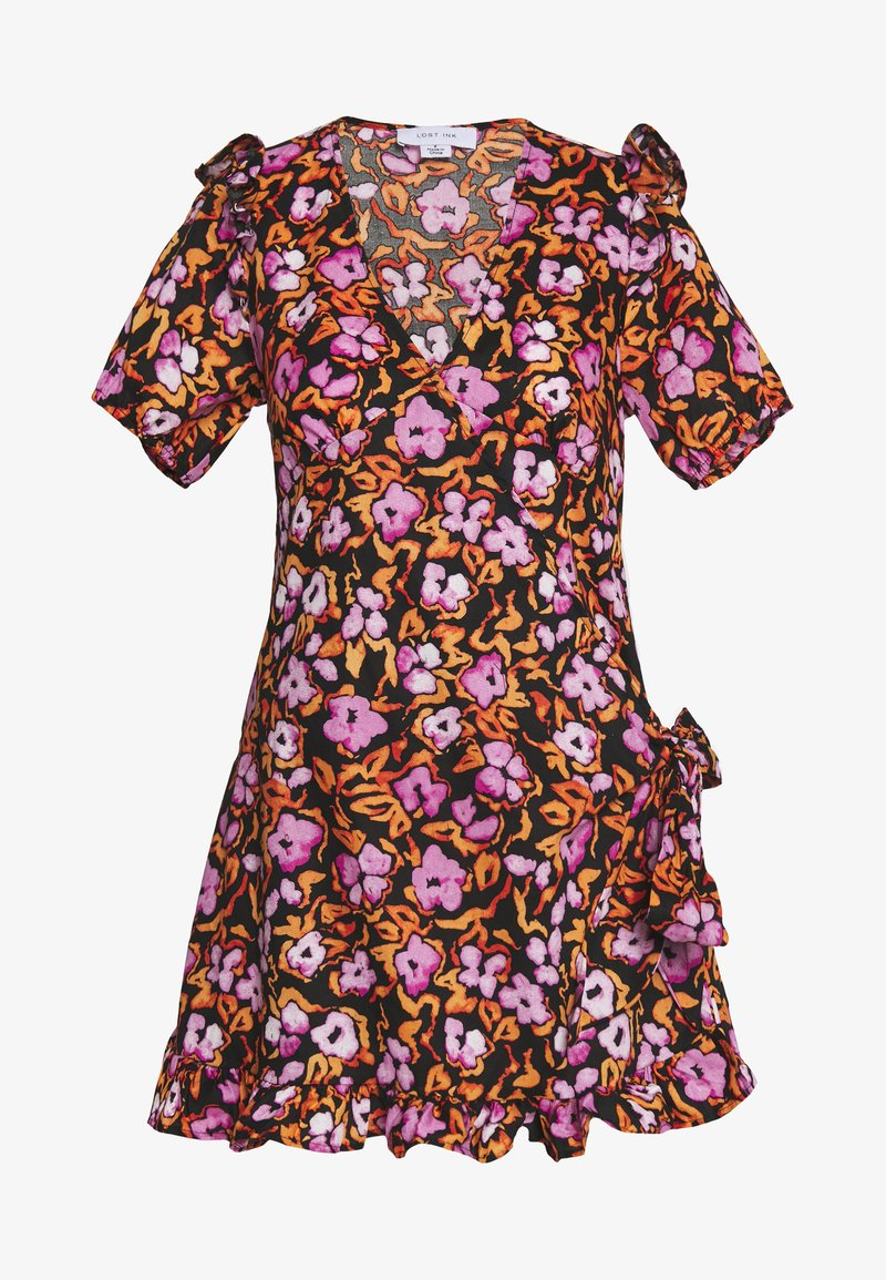 Lost Ink Petite - FLORAL PRINT SMOCK WRAP MINI DRESS - Vestido informal - multicoloured