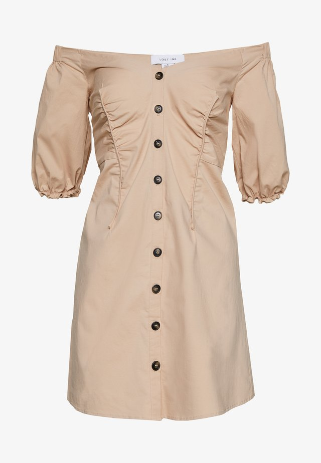 BARDOT BUTTON FRONT MINI DRESS - Denní šaty - beige