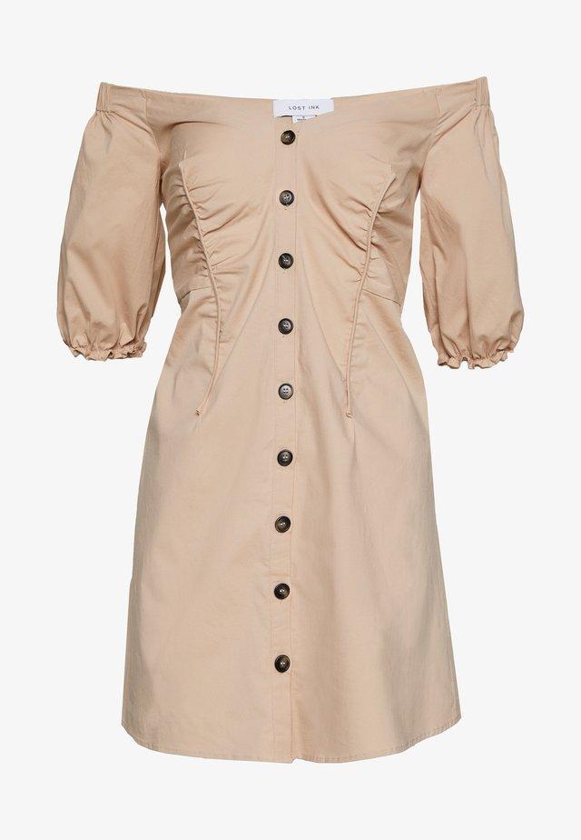 BARDOT BUTTON FRONT MINI DRESS - Vestido informal - beige