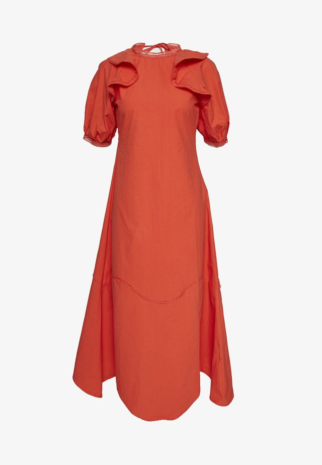 TRIM DETAIL RUFFLE SHOULDER MIDAXI DRESS - Day dress - orange