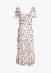 Lost Ink Petite - MONO PRINT FRONT SPLIT SHORT SLEEVE DRESS - Maxi šaty - white - 0