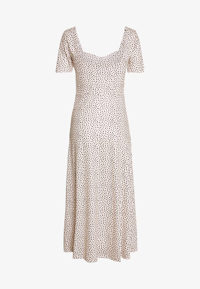 MONO PRINT FRONT SPLIT SHORT SLEEVE DRESS - Maxi-jurk - white