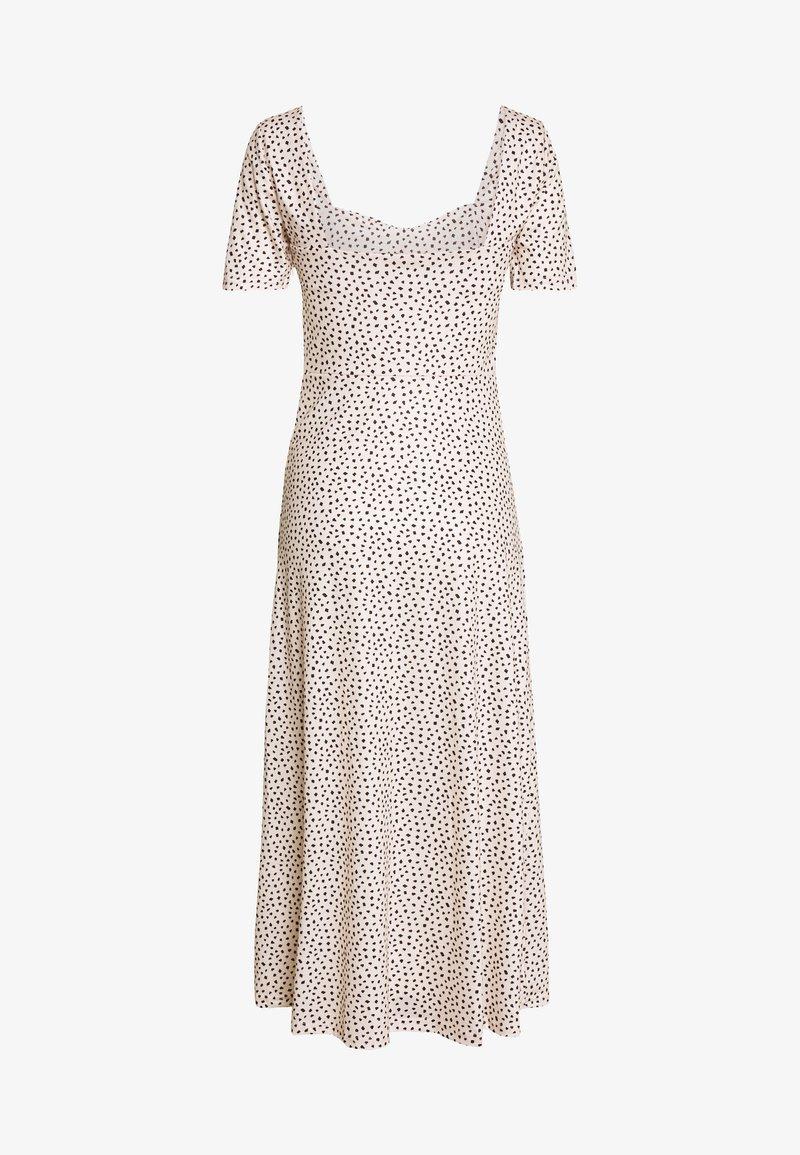 Lost Ink Petite - MONO PRINT FRONT SPLIT SHORT SLEEVE DRESS - Maxi šaty - white
