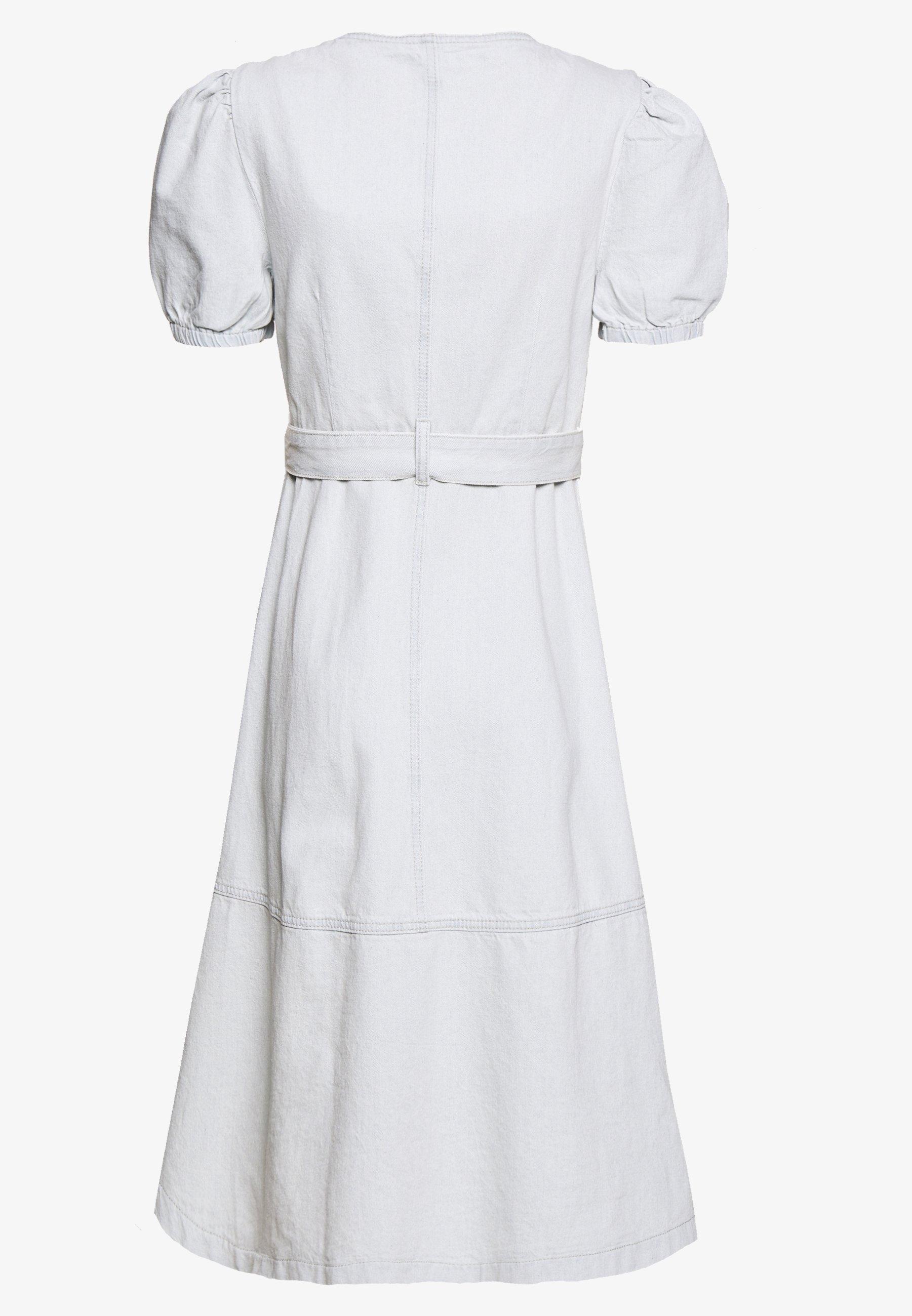 Lost Ink Petite Button Front Wrap Midi Dress - Denim Light