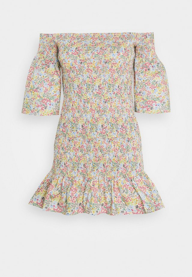 SHIRRED BARDOT MINI DRESS - Vestido informal - multi