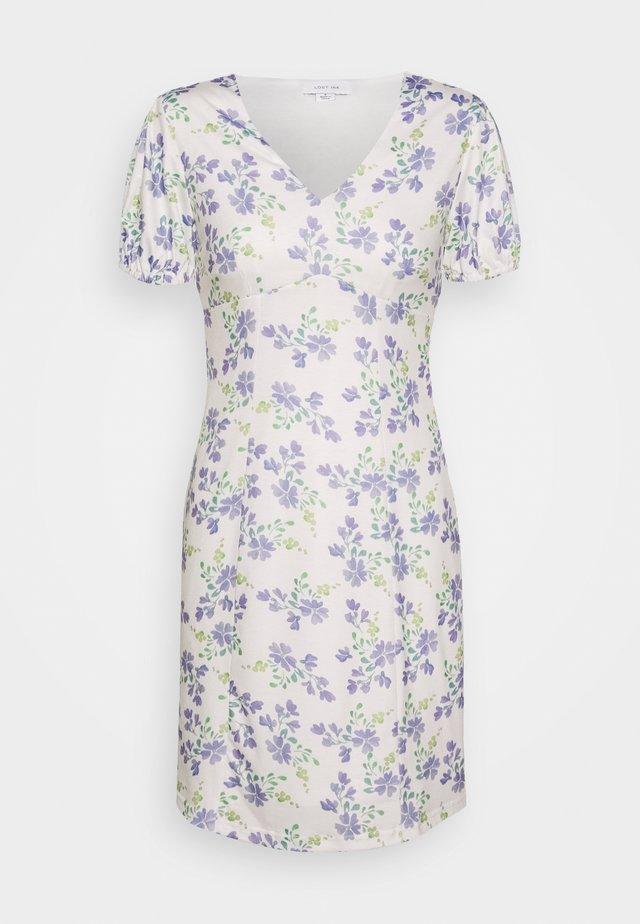 PRINTED V NECK MINI DRESS - Denní šaty - multi