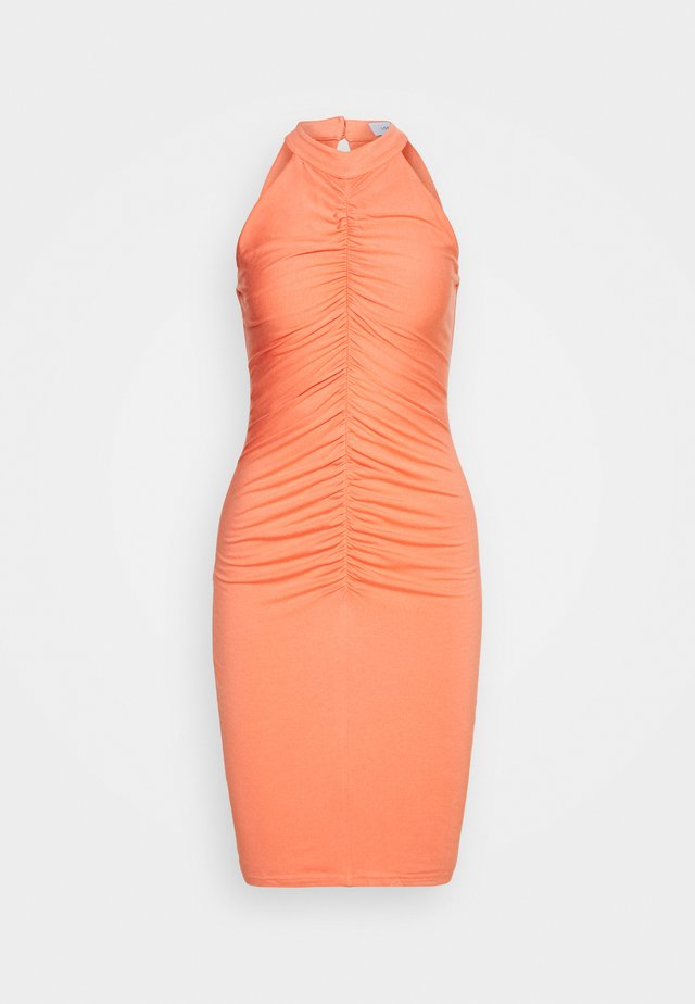 RUCHED FRONT MIDI DRESS - Jersey dress - orange