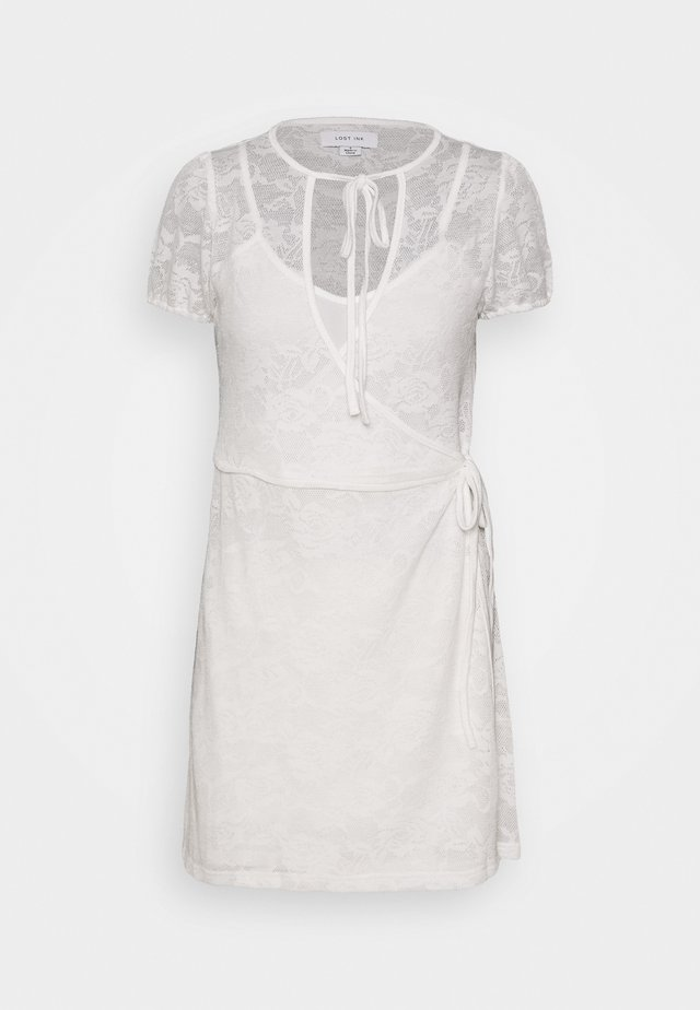 WRAP MINI DRESS - Day dress - white