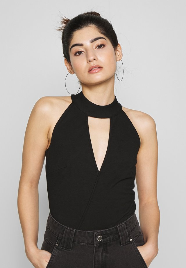 HALTER NECK WRAP DETAIL BODY - Top - black