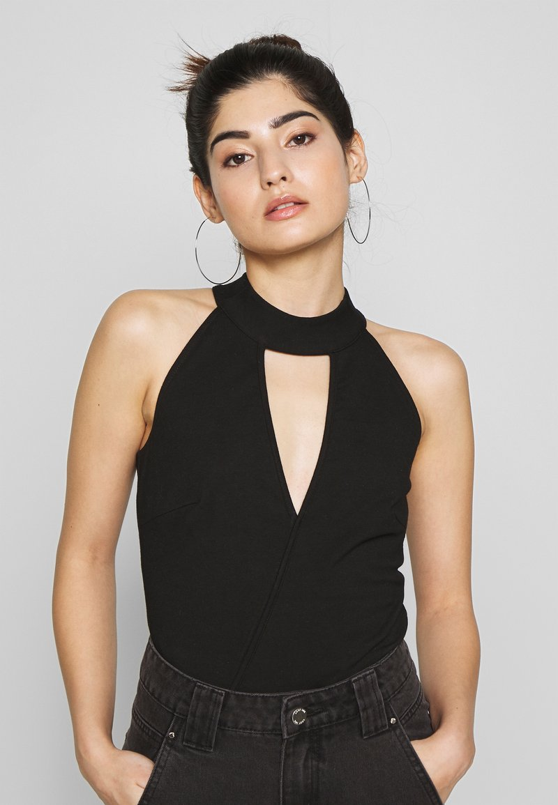 Lost Ink Petite - HALTER NECK WRAP DETAIL BODY - Top - black