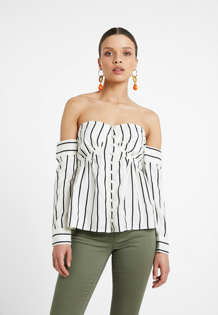 Lost Ink Petite - BARDOT IN STRIPED - Bluse - off white