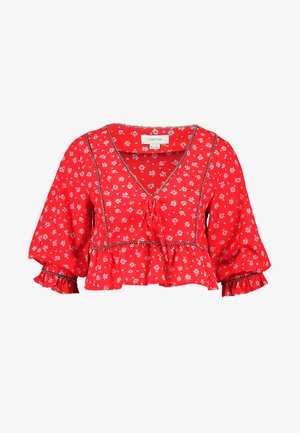 SMOCK BLOUSE IN PRINT WITH TRIM DETAIL - Blůza - multi red