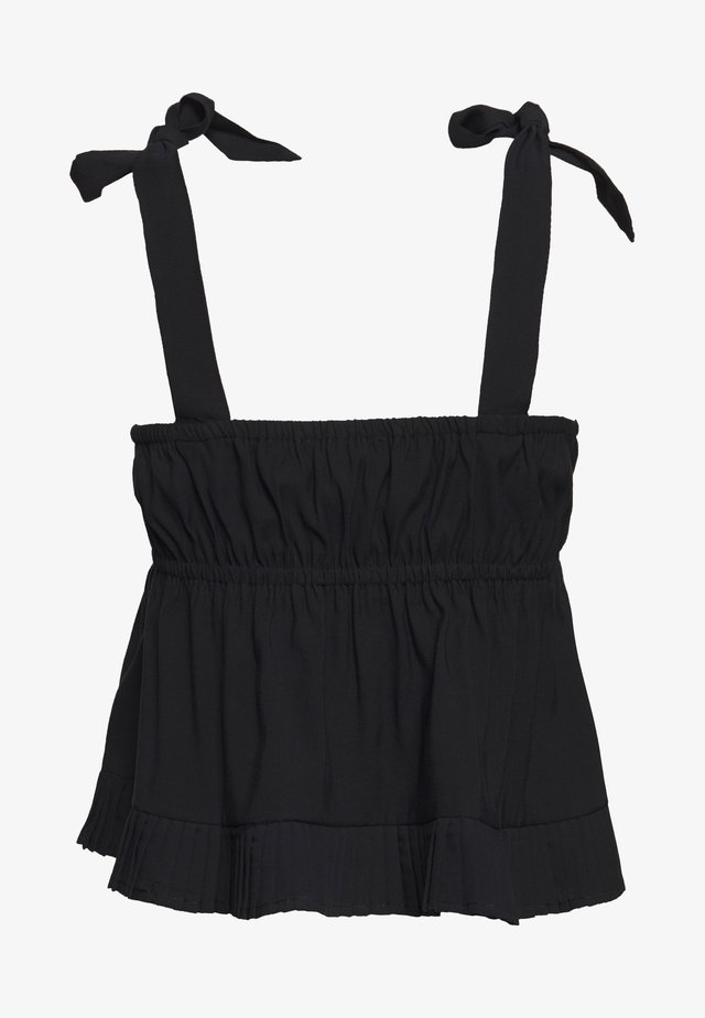 PLEATED HEM DETAIL BOW TIE CAMI - Bluser - black