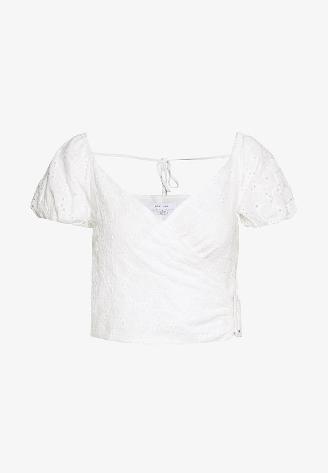 BRODERIE WRAP BUCKLE TIE WAIST BLOUSE - Blouse - white
