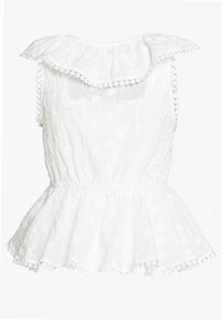 Lost Ink Petite - BRODERIE RUFFLE FRONT - Blusa - white - 1