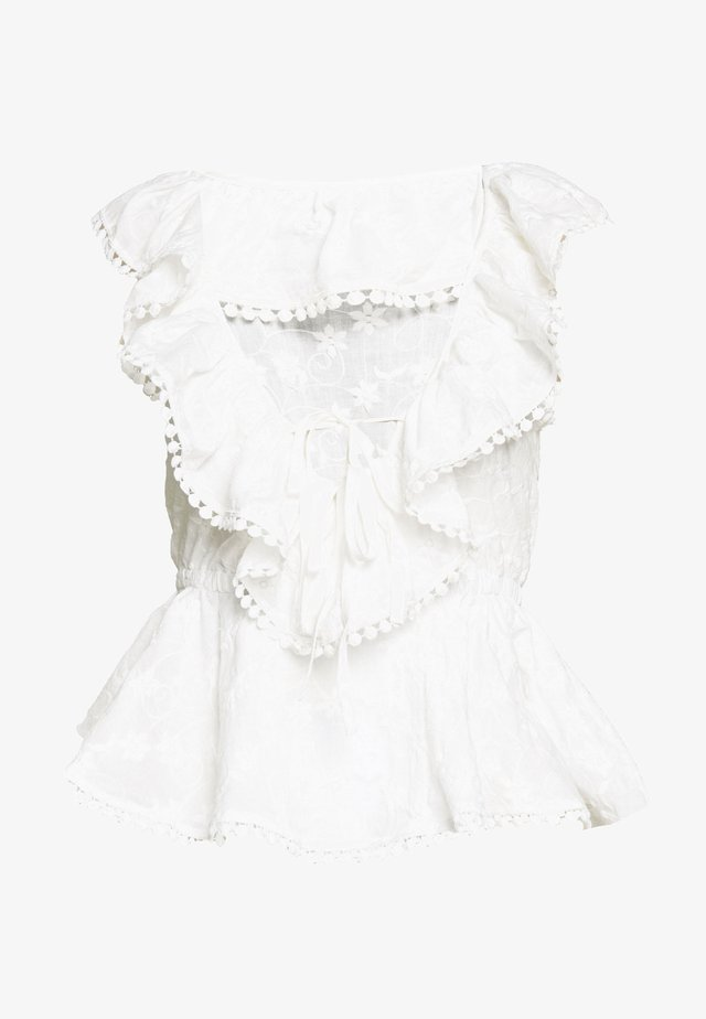 BRODERIE RUFFLE FRONT - Blus - white