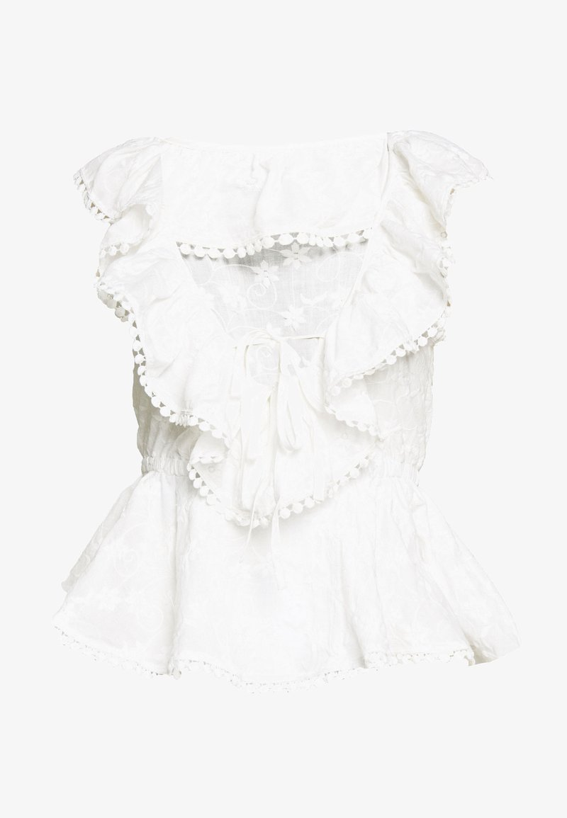 Lost Ink Petite - BRODERIE RUFFLE FRONT - Blusa - white