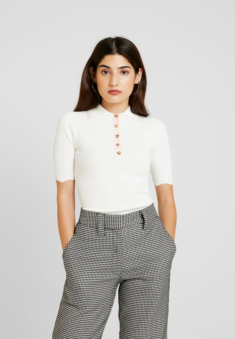 Lost Ink Petite - SCALLOP TIPPED KNITTED - Printtipaita - white