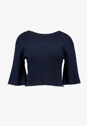 CROPPED TEXTURED BUTTON BACK - Print T-shirt - navy