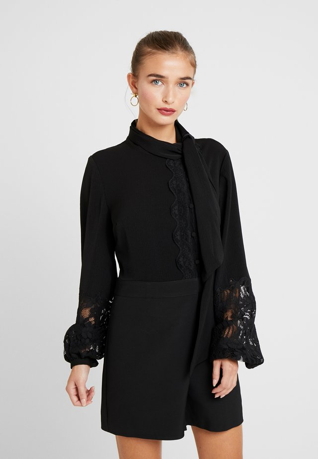 INSERT TIE NECK PLAYSUIT - Overal - black