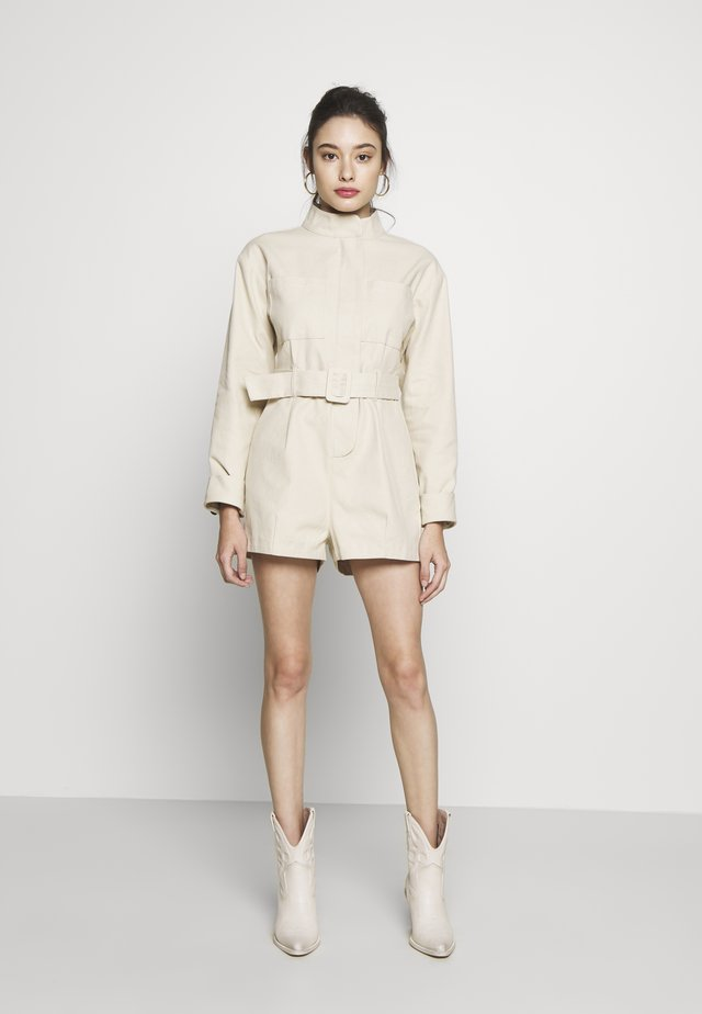 UTILITY STYLE BELTED PLAYSUIT - Overal - beige