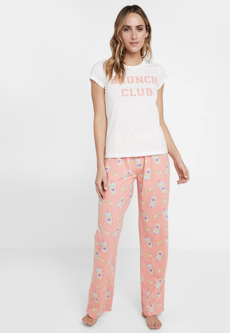 Loungeable - BRUNCH CLUB SHIRT AND TROUSER SET - Pyjamas - coral