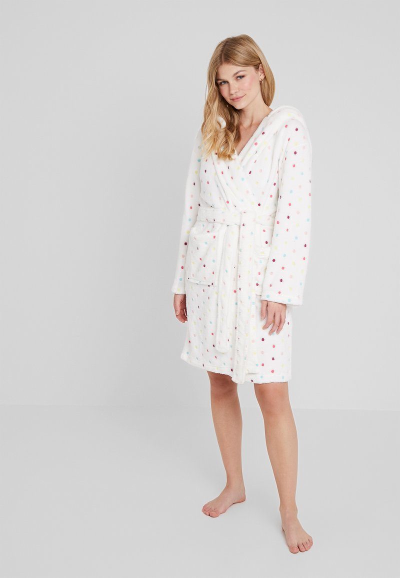Loungeable - MULTI SPOT HOODED ROBE - Dressing gown - cream