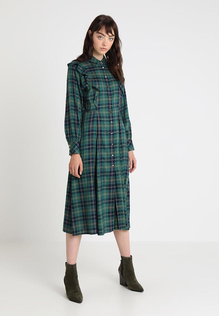 Les Petites... - RUFFLE DETAIL PLAID DRESS - Vestido camisero - foret