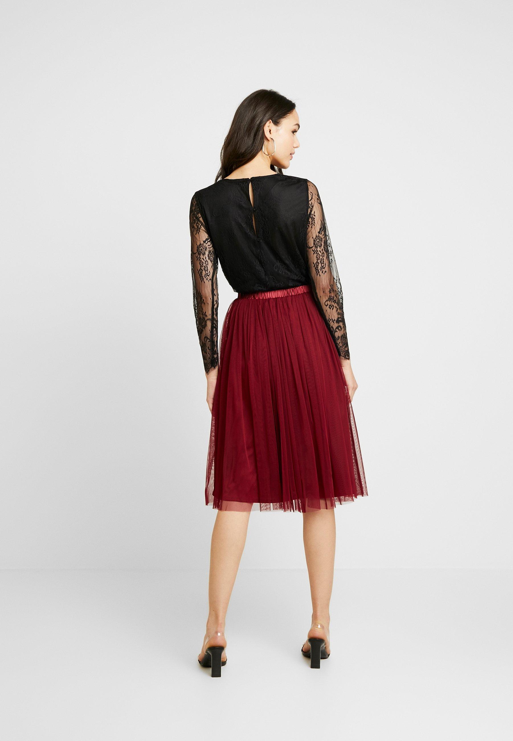 Lace & Beads VAL SKIRT - Gonna a campana burgundy