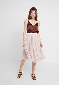 Lace & Beads - VAL SKIRT - Spódnica trapezowa - dark pink - 1